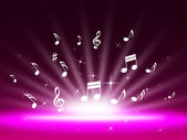Purple Music Backgrond Shows Singing Melody And Po — Stock Photo