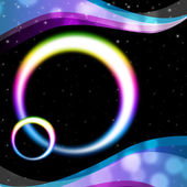 Rainbow Circles Background Means Night Sky And Ripple — Stock Photo