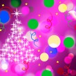 Purple Spots Background Means Dots And Sparkling Christmas Tre — Stock Photo