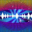Music Disco Ball Background Means Soundwaves And Partyin — Stock Photo #48871147