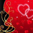 Red Hearts Background Means Love Dear And Flora — Stock Photo #48871603