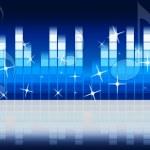 Постер, плакат: Blue Music Background Shows Melody Rock Or Tun
