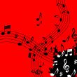 Red Music Background Means Soundwaves Piece And Note — Stock Photo #48872577