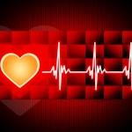 Постер, плакат: Red Heart Background Means Cardiac Rhythm And Cube