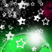 Green Planet Background Shows Stars And Celestial Bodie — Stock Photo