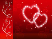 Red Hearts Background Means Tenderness Lover And Flora — Stock Photo