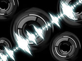 Sound Wave Background Means Frequency Mixer Or Sound Analyze — Stock Photo