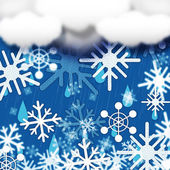 Blue Snowflakes Background Shows Snow Cloud And Snowin — Stock Photo