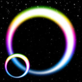 Rainbow Circles Background Shows Colorful Bands In Spac — ストック写真