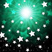 Green Sky Background Shows Radiance Stars And Heaven — 图库照片