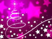 Purple Christmas Tree Background Means Holiday Season And Star — Stock Photo