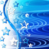 Blue Rippling Background Means Curves Round And Star — Stock Photo