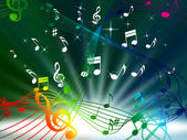 Green Music Background Means Tune Sounds And Piec — Stock Photo