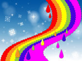 Rainbow Background Shows Blue Sky And Snowin — Stock Photo