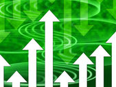 Green Arrows Background Means Direction Upwards Or Downward — Stock Photo