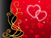 Red Hearts Background Means Love Dear And Flora — Stock Photo