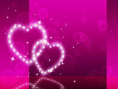 Pink Hearts Background Means Affection Desire And Glitterin — Foto de Stock