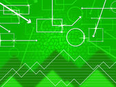 Green Shapes Background Shows Rectangular Oblong And Spike — Stock Photo
