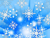 Blue Snowflakes Background Shows Weather Freezing And Winte — Stock Photo