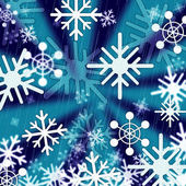 Blue Snowflakes Background Means Freezing Seasons And Christma — Stock Photo