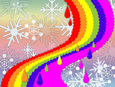 Rainbow Background Means Snowing Winter And Promis — Stock Photo