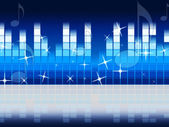 Blue Music Background Shows Melody Rock Or Tun — Stock Photo