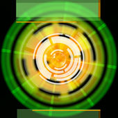 Green Disc Background Shows LP Circles And Rectangle — Stock Photo