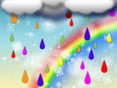 Rainbow Background Shows Colorful Rain And Snowin — Stock Photo
