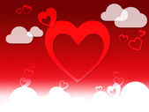 Hearts And Clouds Background Shows Love Sensation Or In Lov — Zdjęcie stockowe