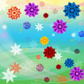 Colorful Flowers Background Means Floral Growth And Beac — Stock Photo