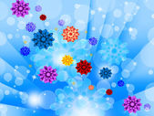 Blue Flowers Background Shows Glow Beams Bubbles And Prett — Stock Photo