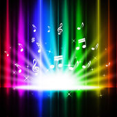 Rainbow Curtains Background Means Music Songs And Stag — Stock Photo