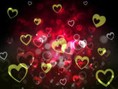 Hearts Background Shows Romantic Adoring And Fon — Stock Photo
