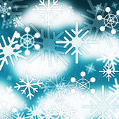 Blue Snowflakes Background Means Frozen Sky And Winte — Stock Photo