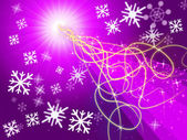 Purple Squiggles Background Shows Pattern And Snowflake — Stock Photo
