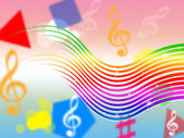 Rainbow Music Background Means Colorful Stripes And Sin — Stock Photo