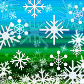 Landscape Snowflakes Background Shows Winter December And Col — Stock Photo