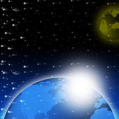 Blue Earth Background Shows Glowing Planet And Spac — Stock Photo