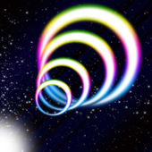 Rainbow Coil Background Means Colorful Rings And Starry Sk — Stock Photo