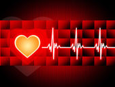 Red Heart Background Means Cardiac Rhythm And Cube — Stock Photo