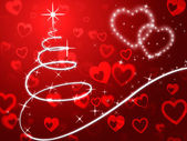 Red Christmas Tree Background Shows Holidays And Lov — Stock Photo
