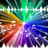 Colorful Music Background Means Brightness Beams And Singin — Stock Photo