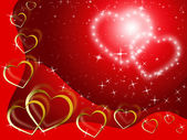 Twinkling Hearts Background Shows Lover And Fondnes — Stockfoto
