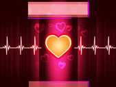 Red Heart Background Shows Life Beating And Pilla — Stock Photo