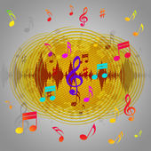 Yellow Music Background Shows Records Piece Or Melod — Stock Photo
