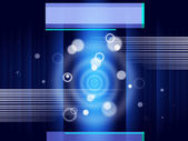 Blue Circles Background Shows Glow And Rectangle — Stock Photo