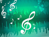 Treble Clef Background Means Sound Frequency Or Music Wav — Stock Photo