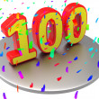One Hundred Means Happy Anniversary And Annual — Stock Photo #49012449
