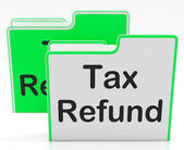 Tax Refund Indicates Taxes Paid And Binder — Zdjęcie stockowe