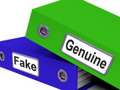 Genuine Fake Indicates Authentic Guaranteed And True — Stock Photo